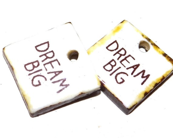 Ceramic Quote Earring Charms Pair Beads Handmade Rustic