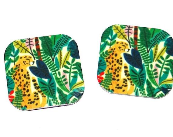 Metal Cheetah Earring Charms Handmade 16mm Pair