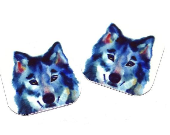 Metal Wolf Earring Charms Handmade 16mm Pair MC2-2