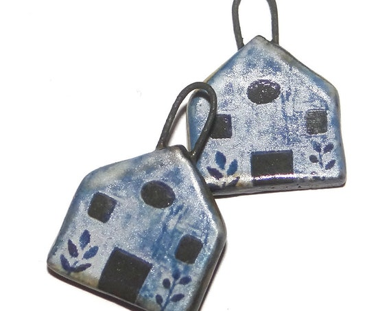 Ceramic Blue House Earring Charms Dangle Pair Beads Handmade Rustic