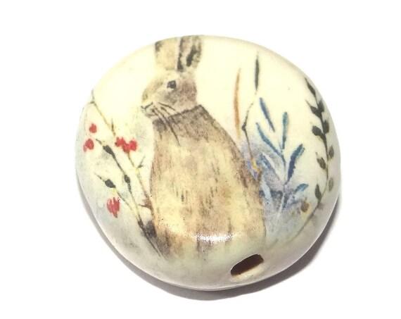 Ceramic Large Hare Rabbit Focal Bead Porcelain Handmade