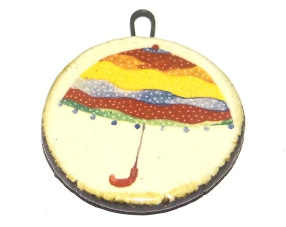 Ceramic Umbrella Pendant Handmade Focal Porcelain