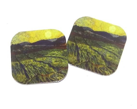 "Small Metal Van Gogh Fields Earring Charms Handmade 16mm 5/8"" MC1-3"