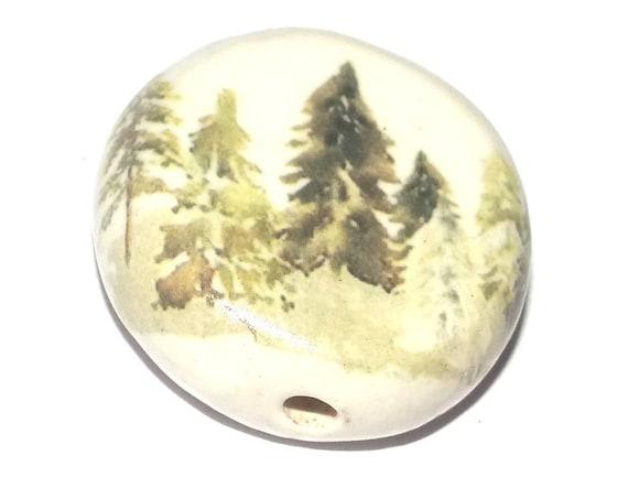 Ceramic Forest Focal Bead Handmade Pottery Beads