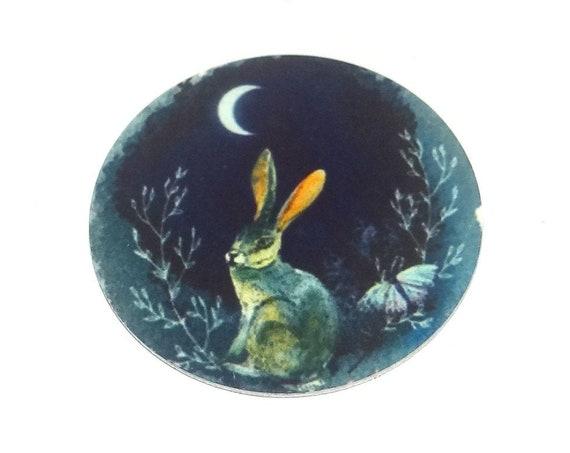 "Metal Hare Moon Charm Pendant Handmade 1"" 25mm MC6-4"