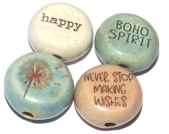 Ceramic Quote Bead Set Beads Handmade Beads Dandelion Boho Spirit