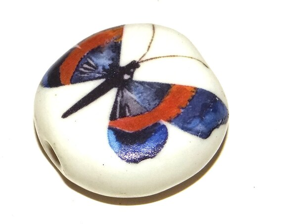 Large Ceramic Butterfly Focal Bead 30mm Porcelain