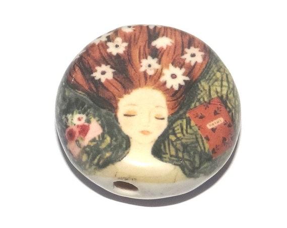 Ceramic Dreamer Focal Bead Handmade Pottery Beads