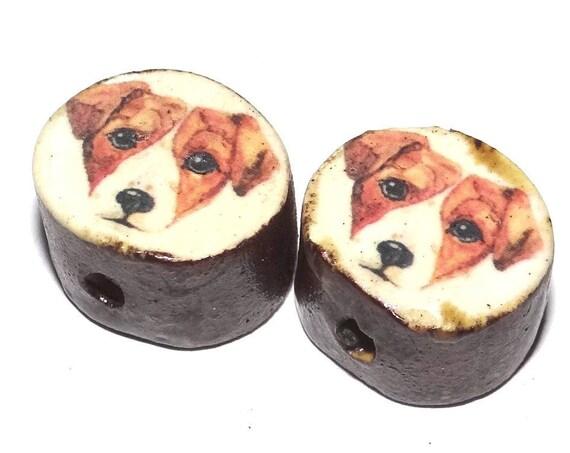 Ceramic Dog Bead Set Pair Inspirational Nature