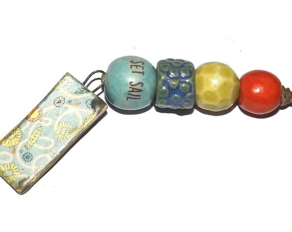 Ceramic Textured Bead Set & Pendant Porcelain Handmade Pottery Beads Rustic