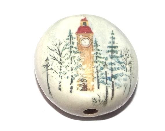 Ceramic Clock Tower Scene Focal Bead Handmade Pottery Beads