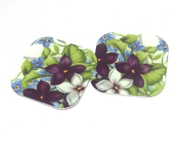 "Metal Floral Earring Charms Handmade Purple Green Leaves 16mm 5/8"" MC1-1"