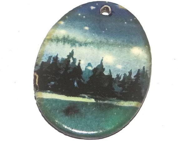 Ceramic Landscape Pendant Porcelain Handmade Night Sky Stars Forest
