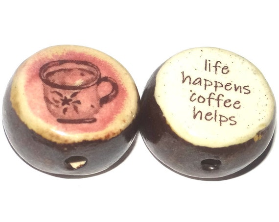 1 Ceramic Double Sided Quote Bead Porcelain Handmade Tea Cup