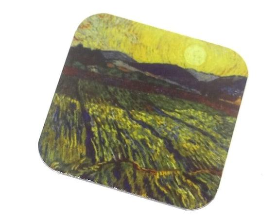 "Metal Van Gogh Fields Charm Pendant Handmade 25mm 1"" Square MSQ4-3"