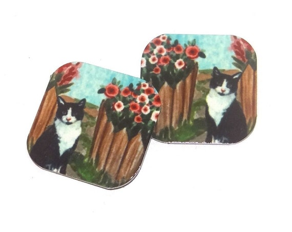 "Metal Cat Garden Earring Charms Handmade 16mm Square 5/8"" MC2-2"