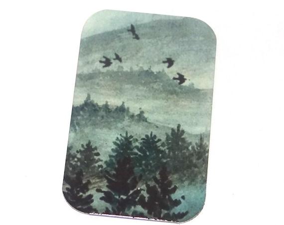 "Small Metal Forest Birds Pendant Handmade 32mm 1.25"" MSR5-1"