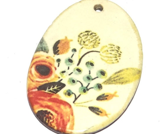Ceramic Floral Pendant Porcelain Handmade Focal Animal Beads