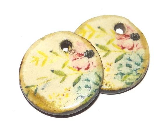 Ceramic Flower Earring Charms Dangle Pair Beads Handmade Rustic