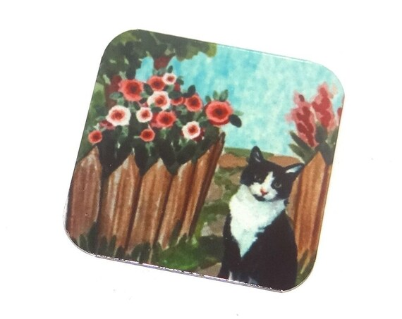 "Metal Cat Garden Charm Pendant Handmade 25mm 1"" Square"
