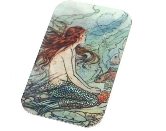 "Small Metal Mermaid Pendant Handmade Ocean Sea 32mm 1.25"" MSR5-1"