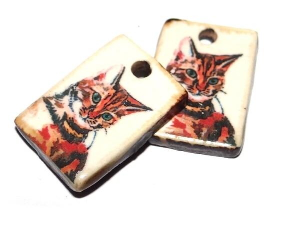 "Ceramic Cat Earring Charms Pair Beads Handmade Rustic 18mm/0.7"" CC2-3"