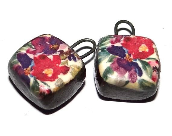 "Ceramic Floral Charms Beads Pair Porcelain 15mm 0.6"" CC1-3"