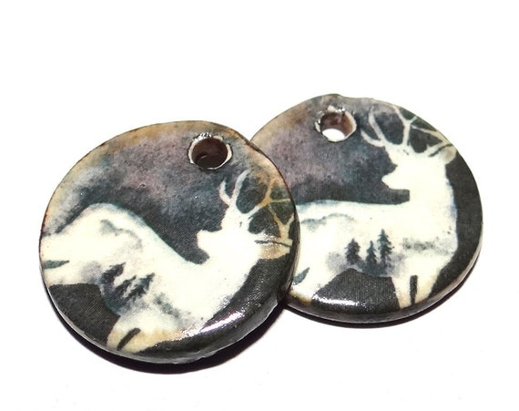 """Ceramic Stag Earring Charms Pair Beads Handmade Rustic 18mm/0.7"""" CC3-1"""