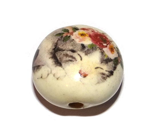 "Ceramic Cat Bead Porcelain Handmade 18mm 0.7"" CFB4-3"