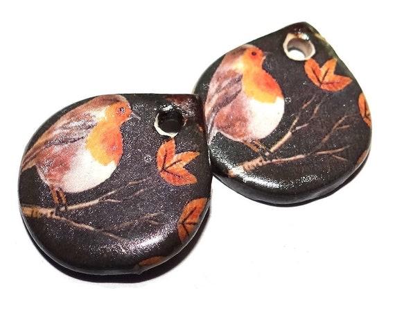"Ceramic Robin Earring Charms Pair Beads Handmade Rustic 18mm/0.7"" CC3-4"