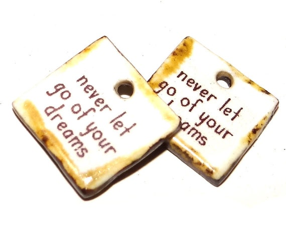 Ceramic Quote Earring Charms Pair Handmade Rustic