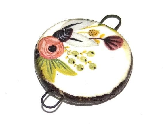 Ceramic Floral Flower Pendant Charm Connector Handmade Focal Porcelain