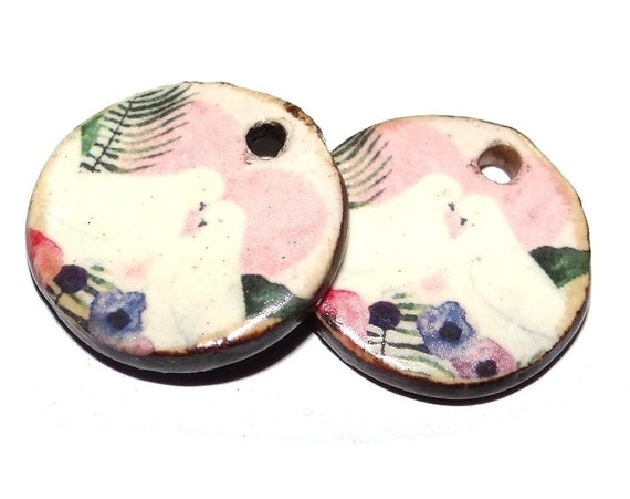 "Ceramic Bird Earring Charms Pair Beads Handmade Rustic 18mm/0.7""  CC3-4"