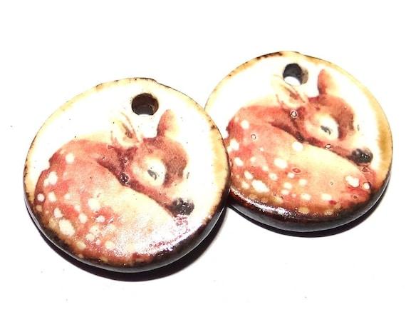 "Ceramic Deer Earring Charms Pair Beads Handmade Rustic 18mm/0.7"" CC3-1"