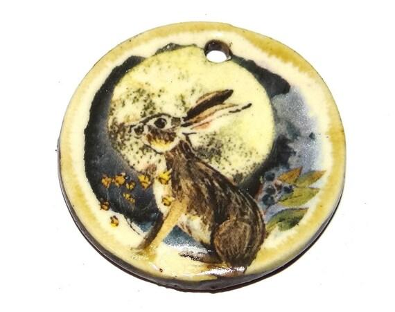 "Ceramic Hare Pendant Handmade Focal Porcelain 30mm 1.2"" CP5-1"