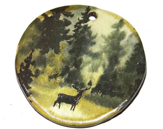"Ceramic Forest Stag Pendant Handmade Focal Porcelain 40mm 1.6"" CP5-1"