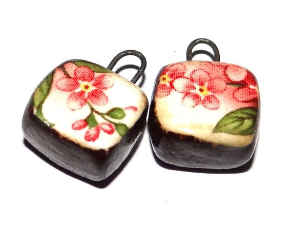 "Ceramic Blossom Earring Charms Pair Beads Handmade Rustic 15mm/0.6"" CC1-3"