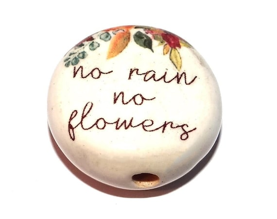 """Large Ceramic Quote Focal Bead Handmade Pottery Beads 30mm 1.2"""" CFB4-2"""