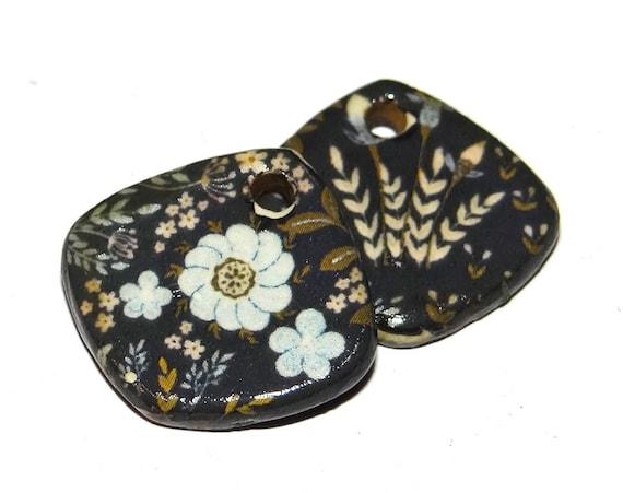 "Ceramic Flower Earring Charms Pair Beads Handmade Rustic 18mm/0.7"" CC2-2"