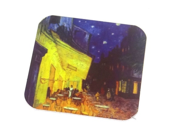 "Metal Van Gogh Charm Pendant Handmade 25mm 1"" Square"