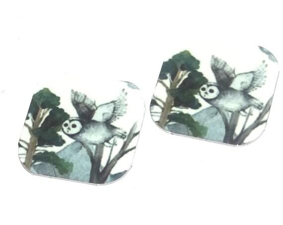 "Metal Owl Earring Charms Handmade Animal Wildlife Bird 16mm 5/8"" MC1-2"