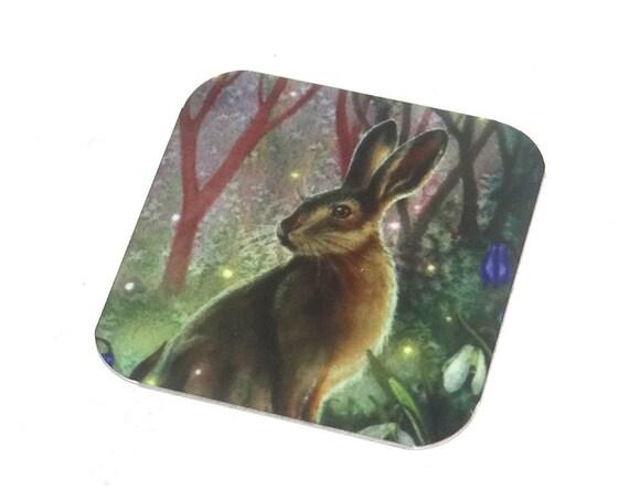 "Metal Hare Charm Pendant Handmade Animal Wildlife 25mm 1"" Square MSQ4-1"