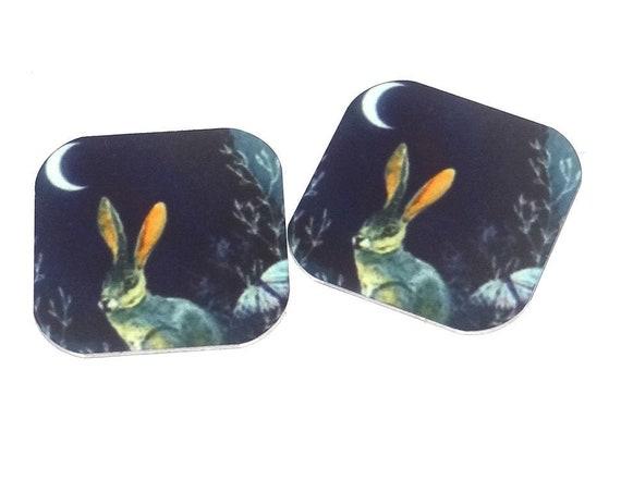 "Metal Hare Earring Charms Handmade 16mm 5/8"" MC2-3"