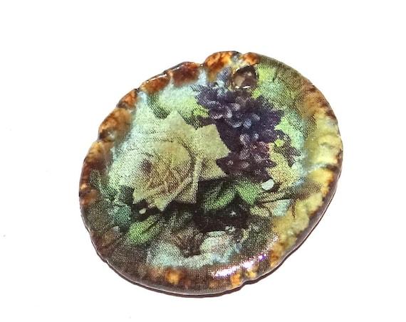 Ceramic Floral Rose Pendant Handmade Focal Rustic