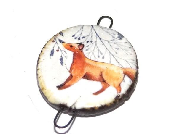 Ceramic Fox Pendant Charm Connector Handmade Focal Porcelain