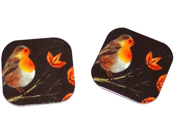"Metal Robin Earring Charms Handmade 16mm Pair 5/8""  MC1-2"