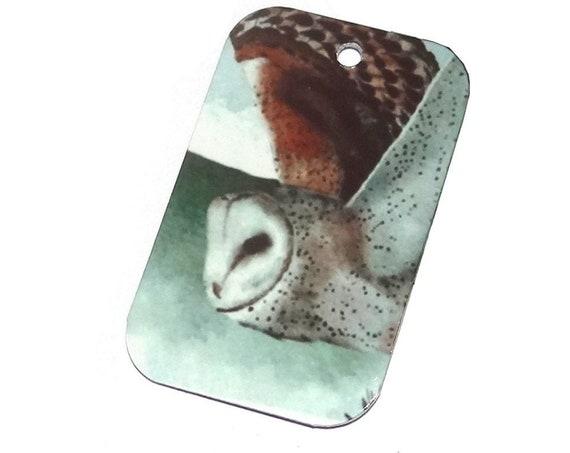 "Metal Owl Flight Pendant Handmade 32mm 1.25"" MSR5-3"