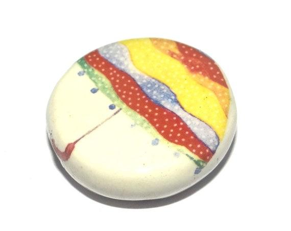 Large Ceramic Umbrella Focal Bead Handmade Pottery Beads