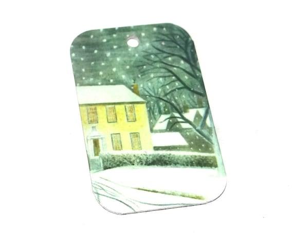 Metal Winter House Scene Snow Earring Charms Handmade
