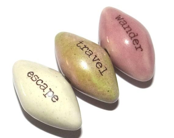 Ceramic Quote Word Bead Set Beads Handmade Pointy 1 Inch